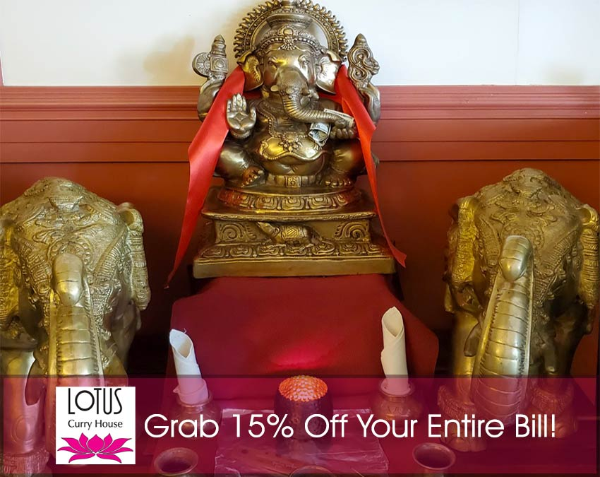 Lotus Curry House - 15% Off Your Entire Bill - Statues, logo and text.